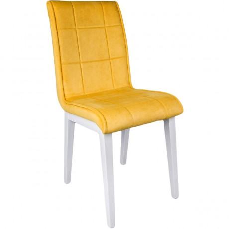 Sarı Monopetli Beyaz Ahşap Ayaklı Sandalye - kris9
