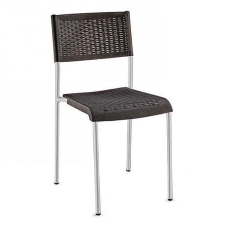 Alüminyum İskeletli Siyah Rattan Enjeksiyon Sandalye - tpi9903