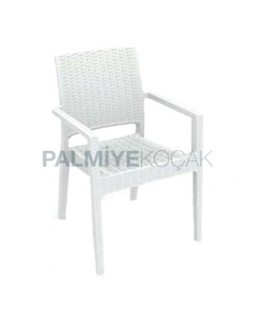 Garden Rattan Arm Chair with White Rattan Injection