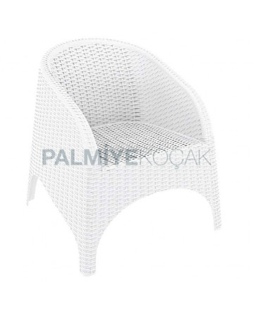 White Injection Rattan Armchair