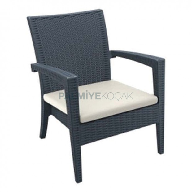 Black Rattan Injection Armchair with Cream Cushion