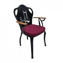 Bosphorus Bridge Cnc Cutting Backrest Cafe Restaurant Garden Winter Wrought Iron Wooden Chair