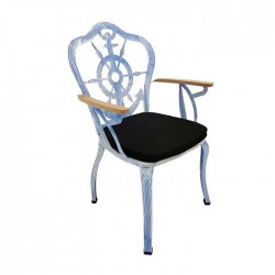 Anchor Patterned White Black Patinated Painted Wooden Arm Metal Wrought Iron Armchair