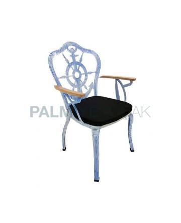 Çapa Desenli Beyaz Siyah Patine Boyalı Ahşap Kollu Metal Ferforje Kollu Sandalye