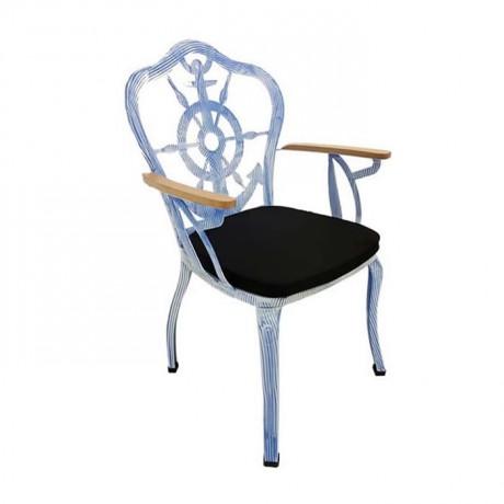 Çapa Desenli Beyaz Siyah Patine Boyalı Ahşap Kollu Metal Ferforje Kollu Sandalye - fts6869