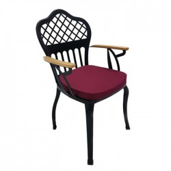 Cross Back Patterned Wooden Arm Metal Wrought Iron Cafe Restaurant Hotel Winter Garden Chair