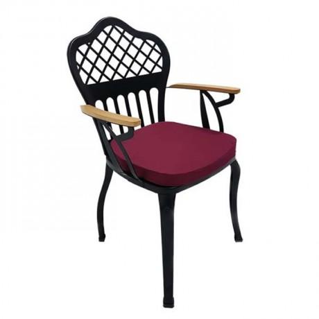 Çapraz Sırt Desenli Ahşap Kollu Metal Ferforje Cafe Restoran Otel Kış Bahçesi Sandalyesi - fts6875