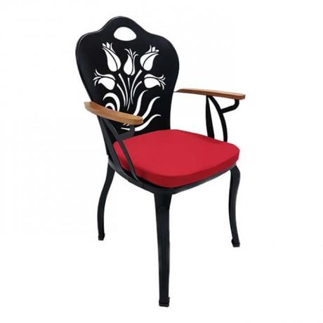 Çiçek Lale Desenli Siyah Boyalı Ahşap Kollu Kırmızı Minderli Metal Ferforje Sandalye - fts6872