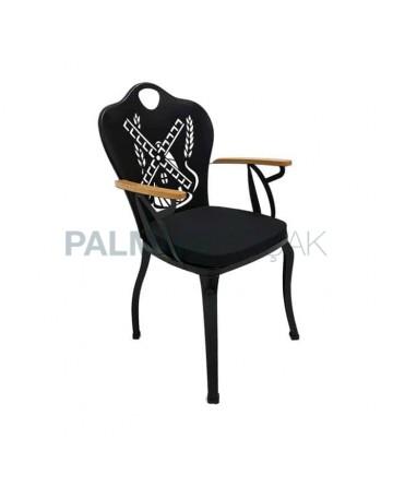 Değirmen Sırt Desenli Cnc Kesimli Siyah Boyalı Kollu Bahçe Sandalyesi
