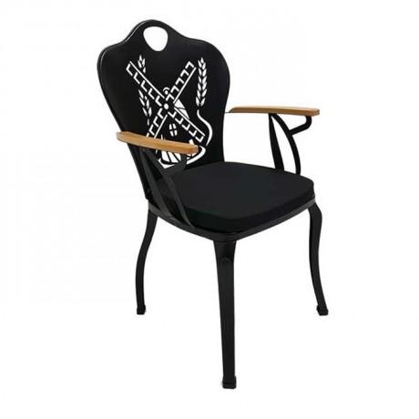 Değirmen Sırt Desenli Cnc Kesimli Siyah Boyalı Kollu Bahçe Sandalyesi - fts6877