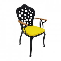 Square Patterned Black Painted Wooden Arm Outdoor Restaurant Hotel Garden Metal Wrought Chair