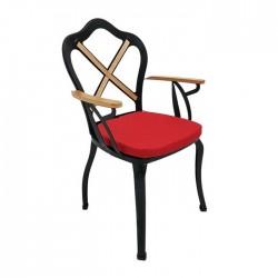 Red Cushioned Crossed Pattern Garden Winter Garden Restaurant Hotel Cafe Wrought Iron Chair