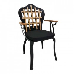 Metal Wood Black Painted Cafe Restaurant Hotel Wrought Chair