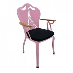 Pink Painted Black Upholstery Metal Iron Wrought Iron Armchair