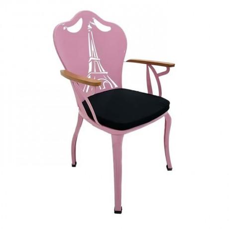 Pembe Boyalı Siyah Döşemeli Metal Demir Ferforje Kollu Sandalye - fts6871