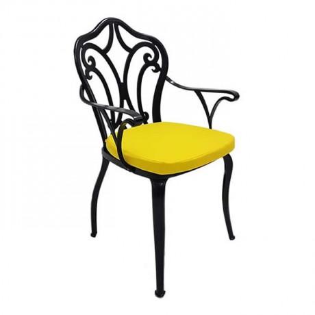 Sırtı Klasik Desenli Boyalı Sarı Minderli Restoran Cafe Otel Ferforje Metal Chair - fts6873