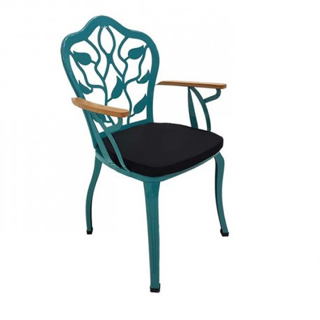 Yaprak Sırt Desenli Ahşap Kollu Turkuaz Boya Renkli Siyah Cafe Restoran Sandalyesi - fts6874
