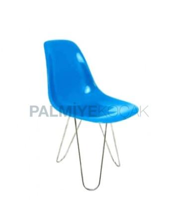 Blue Fiber Chair with Iron Leg