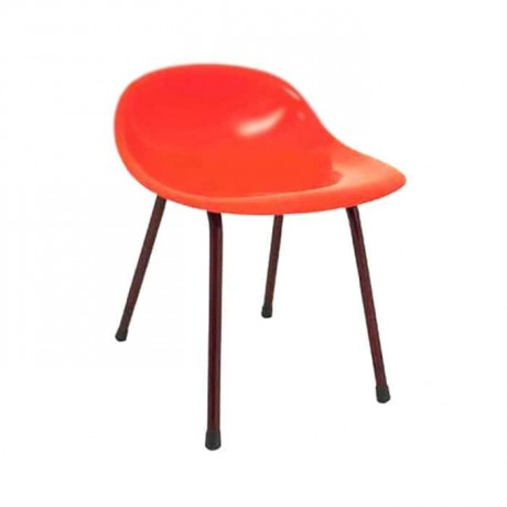 Siyah Boru Ayaklı Turuncu Fiber Sandalye - fsa7454