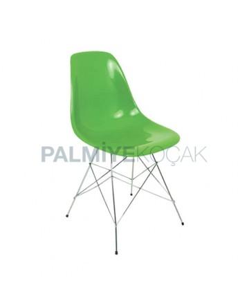 Green Fiber Metal Leg Chair
