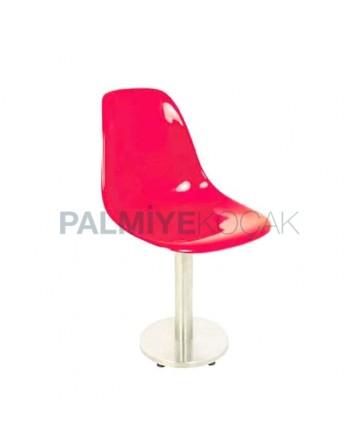 Yuvarlak Paslanmaz Ayaklı Kırmızı Fiber Sandalye