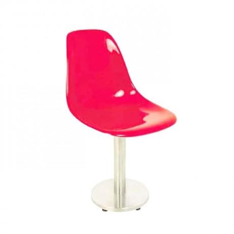 Yuvarlak Paslanmaz Ayaklı Kırmızı Fiber Sandalye - fsa7452