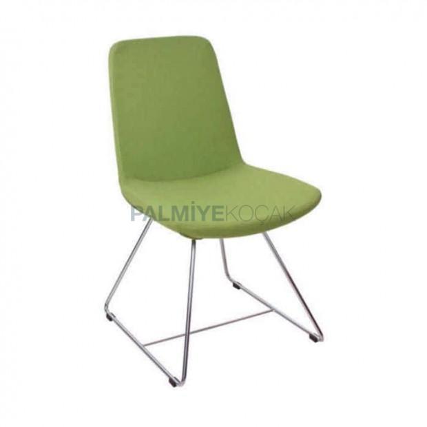 Fıstık Yeşil Derili Çubuk Demir Ayaklı Poliüretan Sandalye