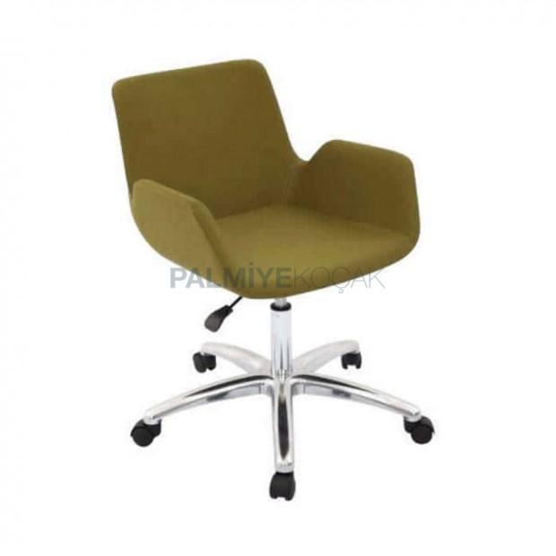 Fıstık Yeşil Kumaş Döşemeli Kollu Amartisorlü Sandalye