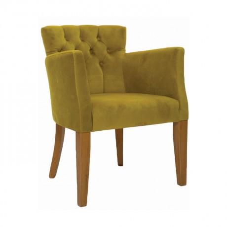 Fıstık Yeşil Kumaşlı Kollu Ahşap Modern Cafe Sandalyesi - mskb65