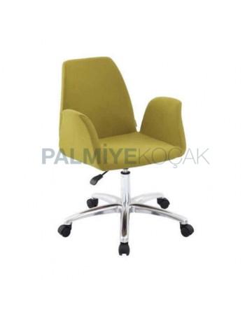 Pistachio Green Wheeled Chrome Plated Leg Chair