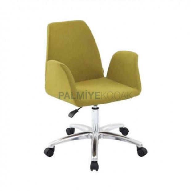 Fıstık Yeşil Tekerlekli Krom Ayaklı Sandalye
