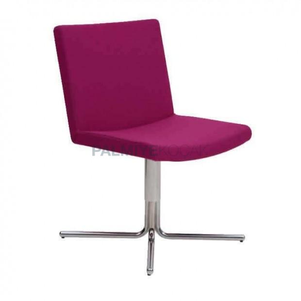 Fusia Kumaş Döşemeli Metal Krom Ayaklı Sandalye