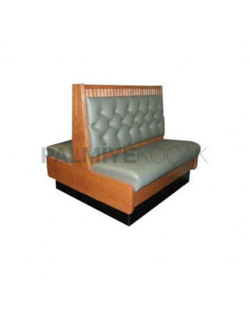 Gray Leather Upholstered Wood Double Sided Cedar