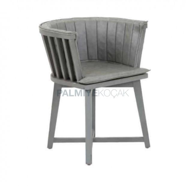 Gri Döşemeli Ahşap Çıtalı Cafe Sandalyesi