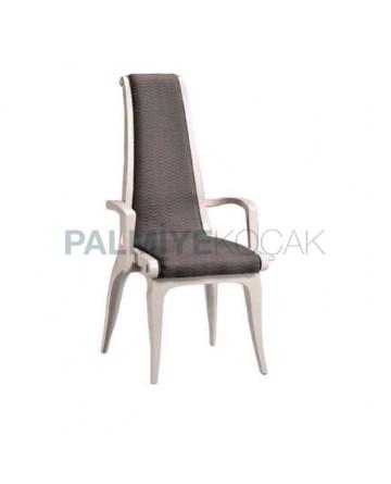 Gri Kumaş Döşemeli Beyaz Lake Boyalı Kollu Klasik Sandalye