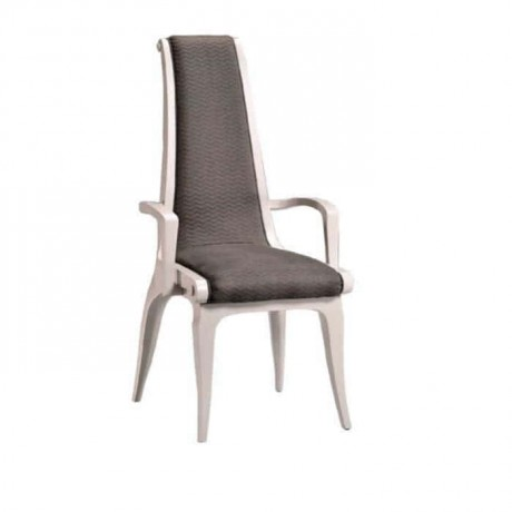 Gray Fabric Upholstered White Lacquered Classic Armchair with Arm - ksak103