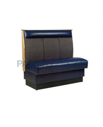 Gray Fabric Blue Leather Upholstered Booths