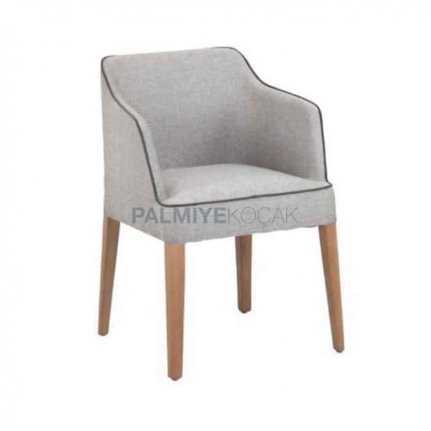 Gri Kumaşlı Ahşap Ayaklı Poliüretan Sandalye