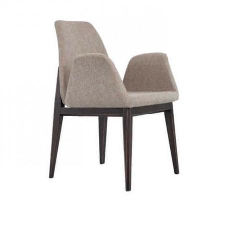 Gri Kumaşlı Wenge Boyalı Kollu Poliüretan Sandalye - psa692