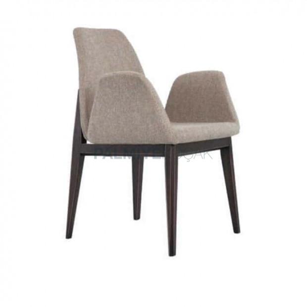 Gri Kumaşlı Wenge Boyalı Kollu Poliüretan Sandalye