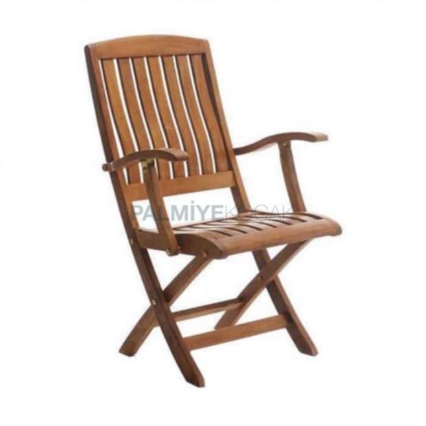 İroko Katlanır Kollu Bahçe Sandalyesi