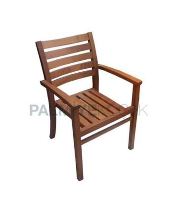 İroko Kollu Otel Bahçe Sandalyesi