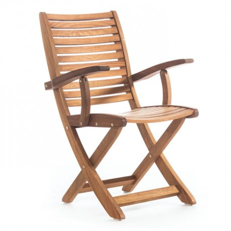 Folding Cafe Iroko Arm Chair - btk2027