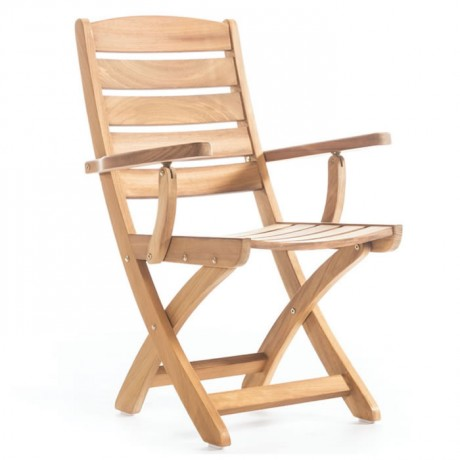 Katlanır Kollu Yatay Çıtalı İroko Sandalye - btk2032