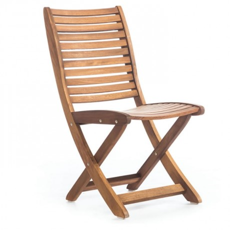 Folding Cafe Iroko Armless Chair - btk2026