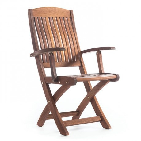 Katlanır Otel Bahçesi Kollu İroko Sandalye - btk2025k