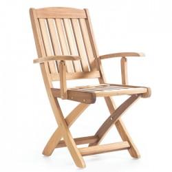 Folding Iroko Arm Chair