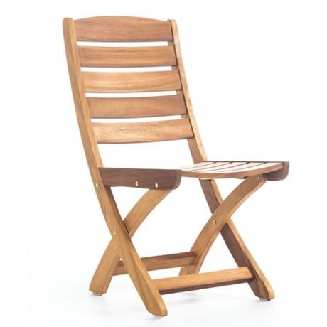 Yatay Çıtalı Kolsuz İroko Bahçe Sandalyesi - btk2031
