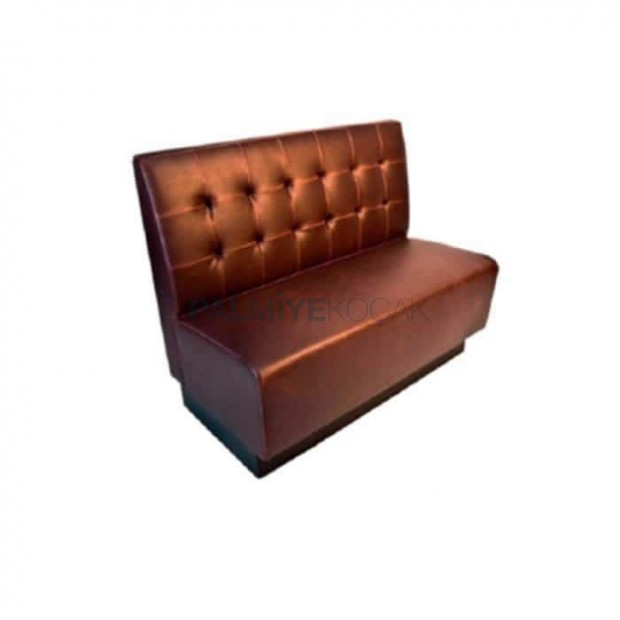 Brown Leather Upholstered Hotel Restaurant Couch