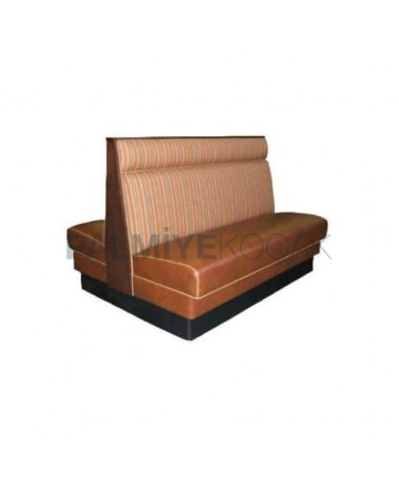 Brown Leather Fabric Upholstered Double Sided Cafe Restaurant Booths